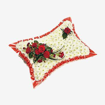 White & Red Pillow