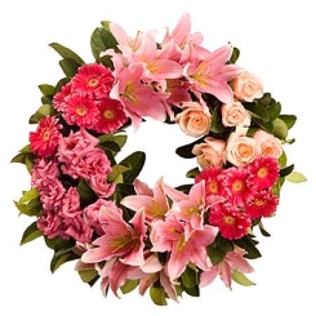 Pink Sympathy Wreath