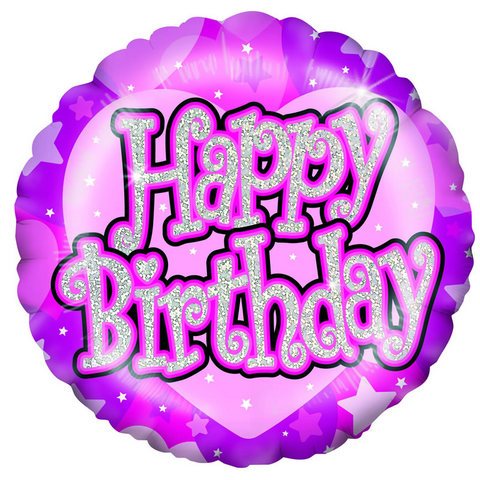 18 inch Shimmer Pink Happy Birthday Foil