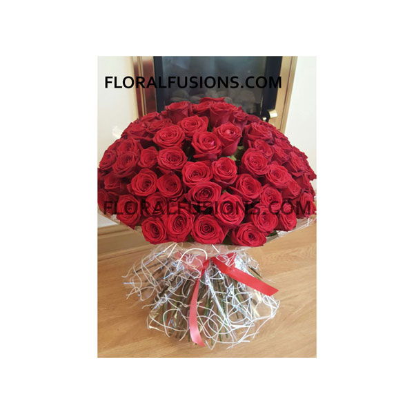 100 Red Roses Bouquet | Floral Fusions – Leicester based florist for ...
